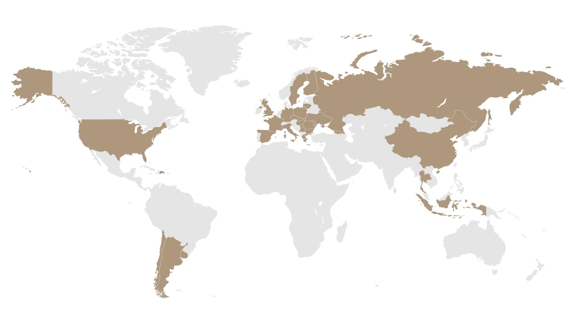 mapa exportu pivovaru PRIMÁTOR a.s.